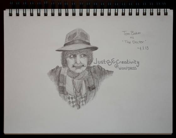 Tom Baker as The Doctor. Graphite on Paper. April 1, 2013.