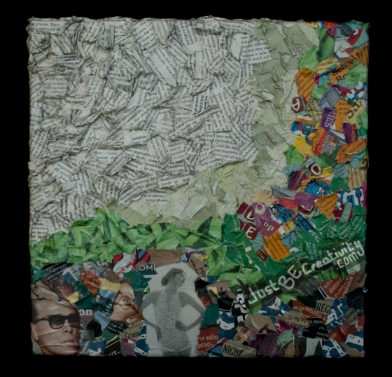 Green Screen. Newspaper scraps and Mod Podge on a stretched canvas. July / August 2013.