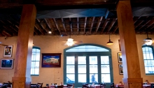 Mulate's in New Orleans. We are frogs legs, aligator sausage, and chased it down with some local, cold beer. Panorama image.