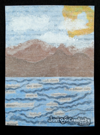 Illustrations of Nothing. Found newspaper text, tracing paper, brown paper bag scraps, yarn, paint, glue October, 2013.