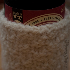 Shed Mountain Ale in a Hand-made Knitted Cozy.